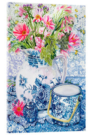 Acrylic print  Gerberas in a porcelain pot with other vessels - Joan Thewsey