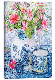 Canvas print  Gerberas in a porcelain pot with other vessels - Joan Thewsey