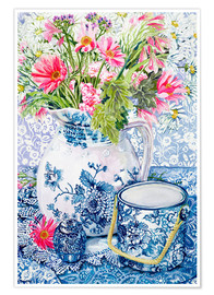 Premium poster  Gerberas in a porcelain pot with other vessels - Joan Thewsey