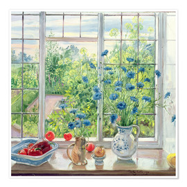 Premium poster  Cornflowers and Kitchen Garden - Timothy Easton