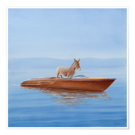 Premium poster  Donkey in a boat - Lincoln Seligman
