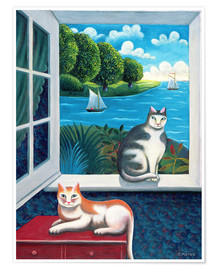 Premium poster  Cats and Sea - Jerzy Marek