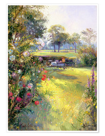 Premium poster  Reading in the Garden - Timothy Easton