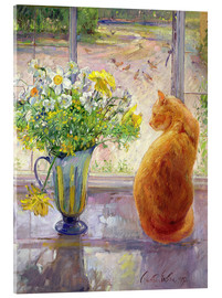 Acrylic print  Cat with flowers in the window - Timothy Easton