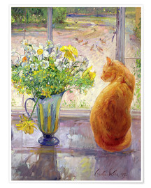 Premium poster Cat with flowers in the window