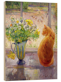 Wood print  Cat with flowers in the window - Timothy Easton