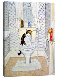 Canvas print  Cat on the Loo - Ditz