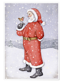 Premium poster  Father Christmas and a Robin - Lavinia Hamer
