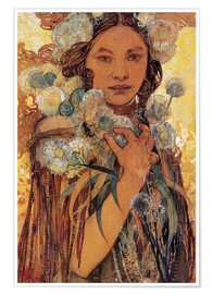 Premium poster  Native American woman with flowers and feathers - Alfons Mucha