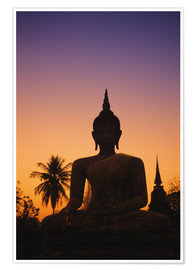 Premium poster Wat Mahathat At sunset
