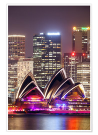 Premium poster  Sydney Opera house at night - Matteo Colombo