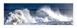 Premium poster  Waves crashing on lighthouse - John Short