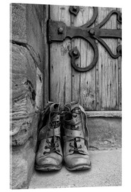 Acrylic print  Worn boots before a door - John Short