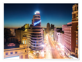 Premium poster  Madrid in the night - Matteo Colombo