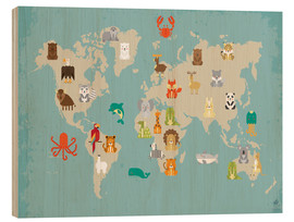 Wood print  World map with animals - Petit Griffin