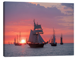 Canvas print  Sailing ships on the Baltic Sea in the evening - Rico Ködder