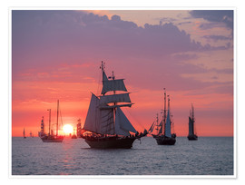 Premium poster  Sailing ships on the Baltic Sea in the evening - Rico Ködder