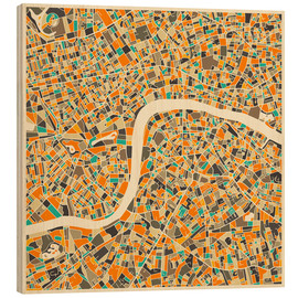 Wood print  London Map - Jazzberry Blue