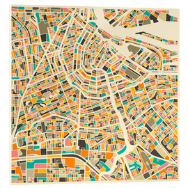 Acrylic print  Map of Amsterdam - Jazzberry Blue