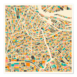 Premium poster  Map of Amsterdam - Jazzberry Blue