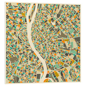 Foam board print  Budapest Map - Jazzberry Blue