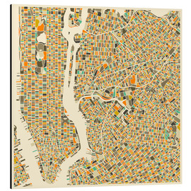 Aluminium print  New York map colorful - Jazzberry Blue