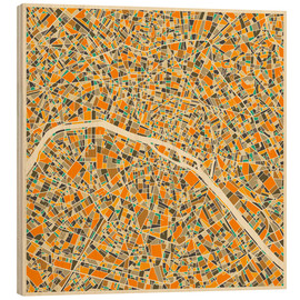 Wood print  Paris map colorful - Jazzberry Blue