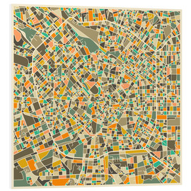 Foam board print  Milan Map - Jazzberry Blue