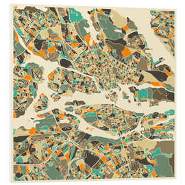 Foam board print  Stockholm Map - Jazzberry Blue