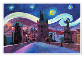 Premium poster  Starry Night in Prague   Van Gogh Inspirations on Charles Bridge in Czech Republic - M. Bleichner