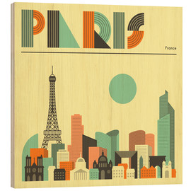 Wood print  Paris skyline - Jazzberry Blue