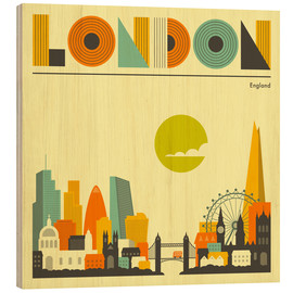 Wood print  London skyline - Jazzberry Blue