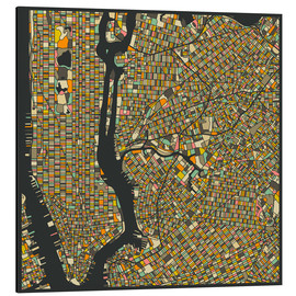 Aluminium print  New York Map - Jazzberry Blue