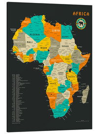 Aluminium print  Africa Map - Jazzberry Blue