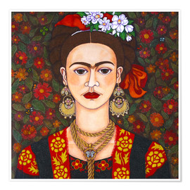 Premium poster Frida with butterflies