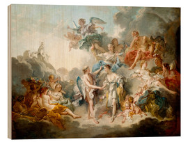Wood print  Cupid and Psyche Celebrate Wedding - François Boucher
