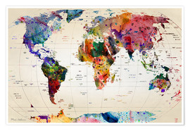 Premium poster  Map of the world - Mark Ashkenazi