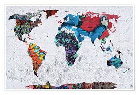 Premium poster  map graffiti - Mark Ashkenazi