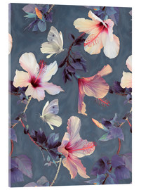 Acrylic print  Butterflies and Hibiscus Flowers - a painted pattern - Micklyn Le Feuvre