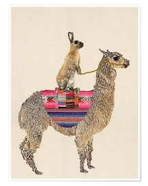 Premium poster  Alpaca with hare - GreenNest