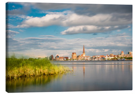 Canvas print  View over the river Warnow to Rostock (Germany) - Rico Ködder