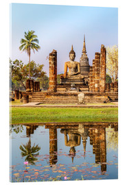Acrylic print  Wat Mahathat buddhist temple reflected in pond, Sukhothai, Thailand - Matteo Colombo