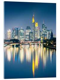 Acrylic print  Frankfurt skyline reflected in river Main at night, Germany - Matteo Colombo
