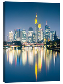 Canvas print  Frankfurt skyline reflected in river Main at night, Germany - Matteo Colombo
