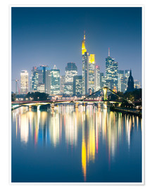 Premium poster  Frankfurt skyline reflected in river Main at night, Germany - Matteo Colombo