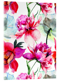 Acrylic print  Poppies and peonies