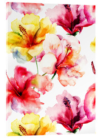 Acrylic print  Lily flowers in watercolor