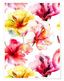 Premium poster  Lily flowers in watercolor