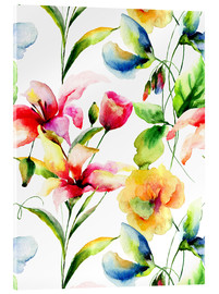 Acrylic print  Wildflowers in Watercolor