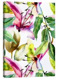 Canvas print  Lilies in watercolor